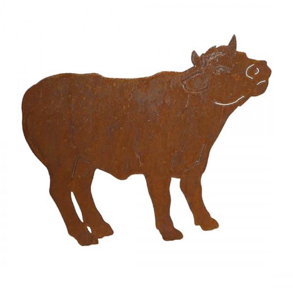 Gartenfigur Metall - Kuh Bulle - Edelrost