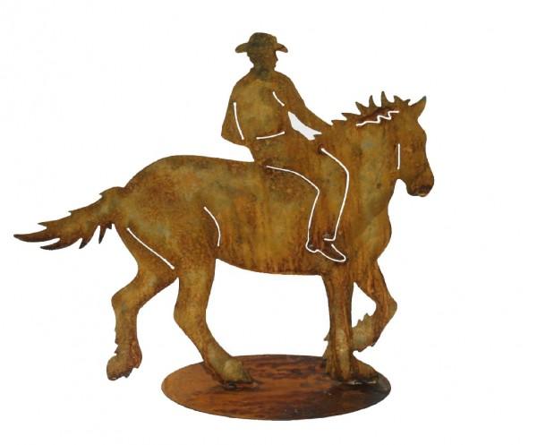 Cowboy auf Pferd mit Platte