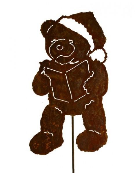 Teddy mit Buch auf Stab Edelrost