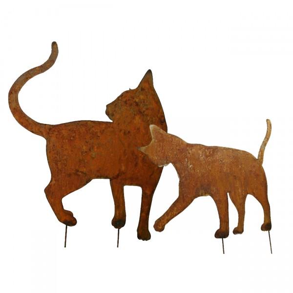 Gartenfiguren Metall - 2 Katzen - verschmust - auf Stab - Edelrost